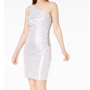 Calvin Klein Silver Metallic Sheath Cocktail Dress